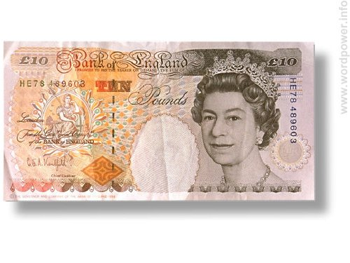A photo quality image of the British Queen Elizabeth on a ten pound note